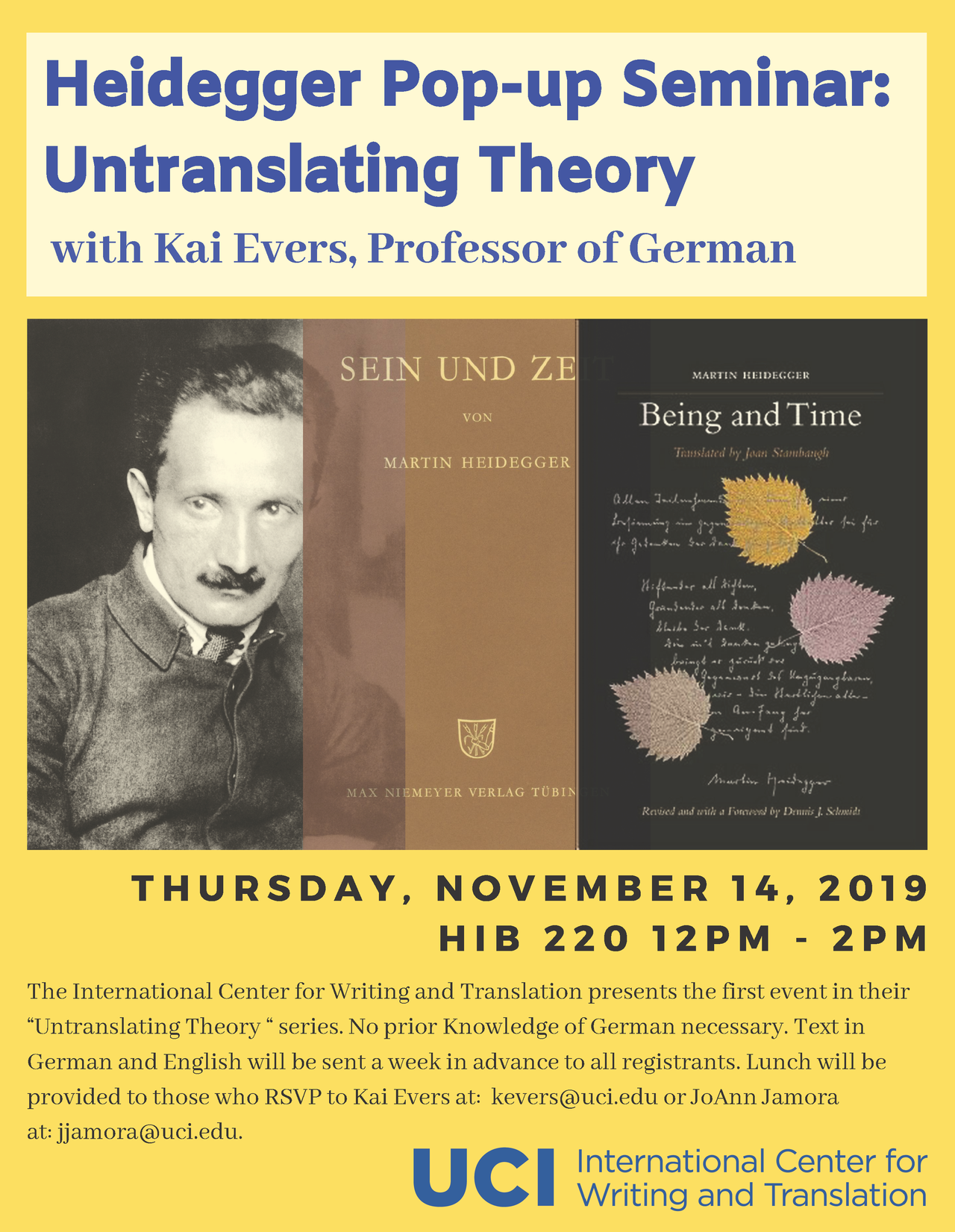 Heidegger pop-up event flyer